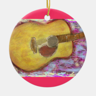 Acoustic Guitar Colours Round Ceramic Decoration