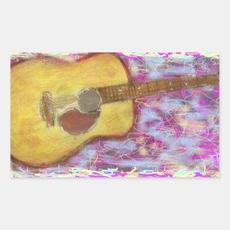 Acoustic Guitar Colours Rectangular Stickers