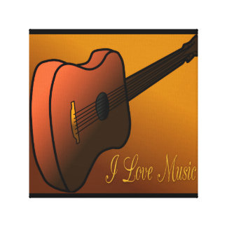 Acoustic Guitar Design Digital Art I Love Music Stretched Canvas Print