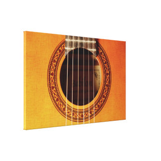 Acoustic Guitar Detail Stretched Canvas Print