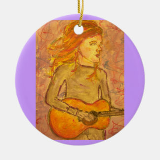 acoustic guitar drawing christmas ornament