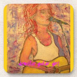 acoustic guitar girl art drink coasters