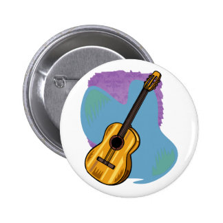 Acoustic Guitar Graphic Blue Behind 6 Cm Round Badge