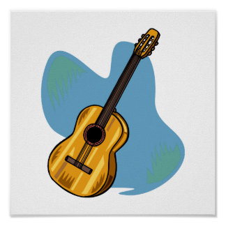 Acoustic Guitar Graphic Blue Behind Posters