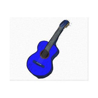 acoustic guitar graphic simple blue.png canvas print