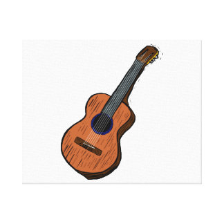 acoustic guitar graphic simple brown.png canvas print