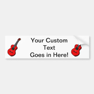acoustic guitar graphic simple red.png bumper sticker