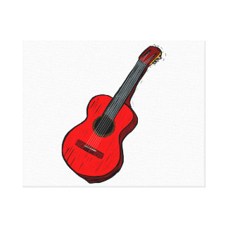 acoustic guitar graphic simple red.png canvas print