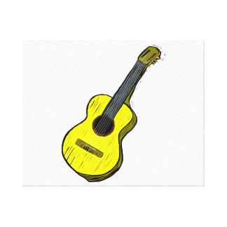 acoustic guitar graphic simple yellow.png canvas prints