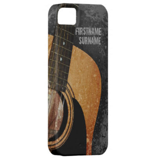 Acoustic Guitar Grey Grunge Custom iPhone 5 Case For The iPhone 5