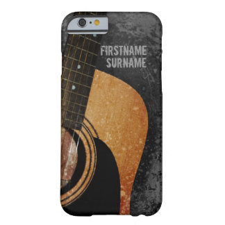 Acoustic Guitar Grey Grunge Custom Name iPhone 6 Barely There iPhone 6 Case