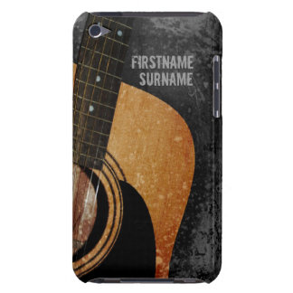 Acoustic Guitar Grey Grunge Custom Name iPod Touch Barely There iPod Cases