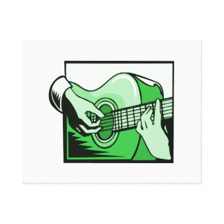 acoustic guitar hand playing green graphic.png gallery wrap canvas