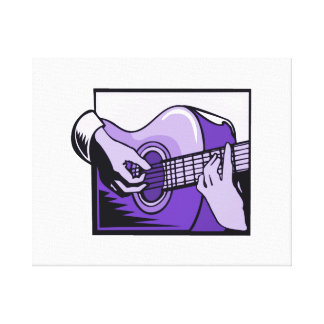 acoustic guitar hand playing purple graphic.png stretched canvas print