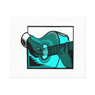acoustic guitar hand playing teal i graphic.png stretched canvas print