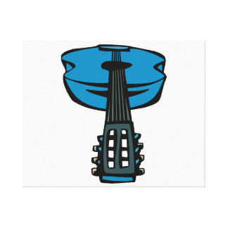 acoustic guitar head on blue.png canvas print