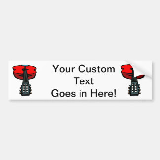 acoustic guitar head on red.png bumper sticker