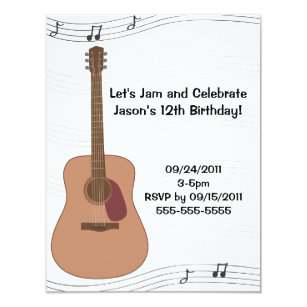 Guitar birthday invitations zazzle uk acoustic guitar illustration birthday invitation filmwisefo