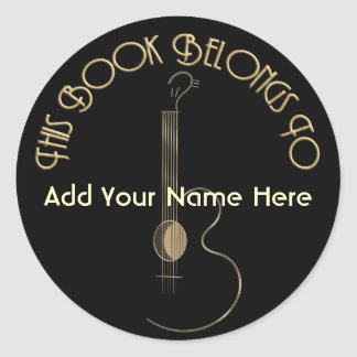 Acoustic Guitar Logo Design Bookplate Stickers