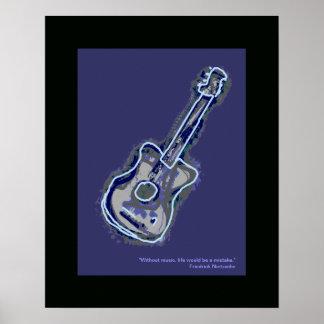 acoustic guitar music art decor poster