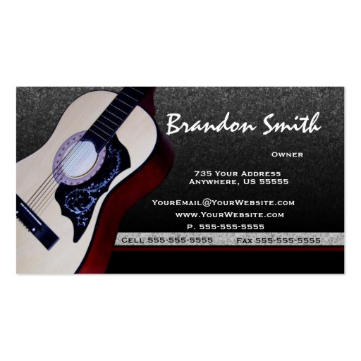 Acoustic Guitar Music Business Cards