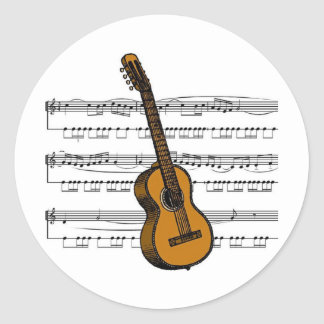Acoustic Guitar musical 07 B Classic Round Sticker