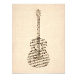 Acoustic Guitar Old Sheet Music Photograph