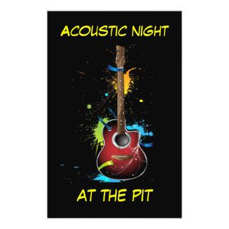Acoustic Guitar Paint Splats Flyers