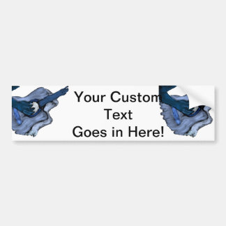 Acoustic Guitar painting, blue inversion Bumper Stickers