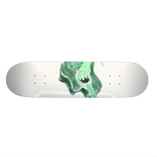 Acoustic guitar painting image green version skate board