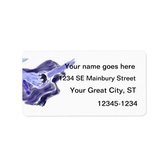 Acoustic guitar painting one arm blue grey address label