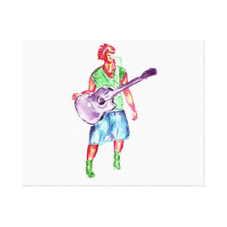 acoustic guitar player female singer musician stretched canvas print