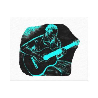 acoustic guitar player invert black turqoise canvas prints