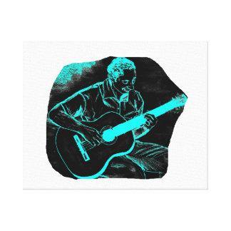 acoustic guitar player invert black turqoise canvas print