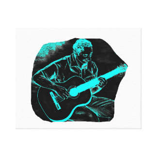 acoustic guitar player invert black turqoise gallery wrap canvas
