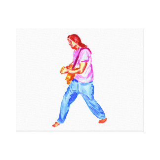 acoustic guitar player pink shirt  jeans stretched canvas prints