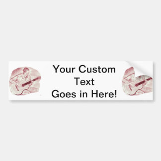 acoustic guitar player sit burgundy sketch bumper stickers