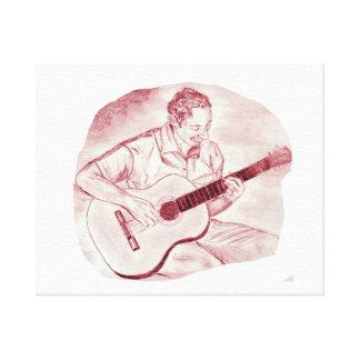 acoustic guitar player sit burgundy sketch canvas print