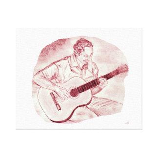 acoustic guitar player sit burgundy sketch canvas prints