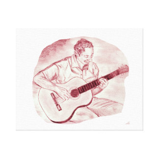 acoustic guitar player sit burgundy sketch stretched canvas prints