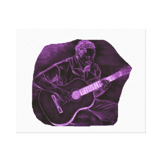 Acoustic guitar player sit purple invert gallery wrapped canvas