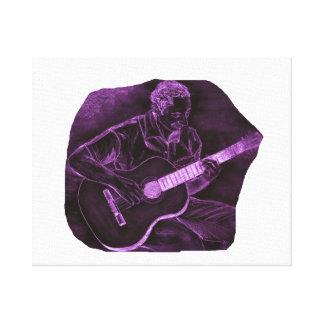 Acoustic guitar player sit purple invert stretched canvas prints