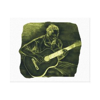 acoustic guitar player sit yellow invert stretched canvas prints