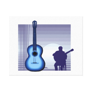 acoustic guitar player sitting bluish.png canvas print