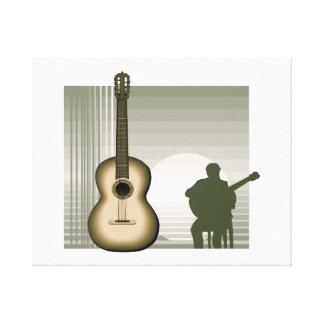 acoustic guitar player sitting brown.png gallery wrapped canvas