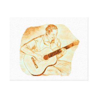 acoustic guitar player sitting pencil orange canvas print