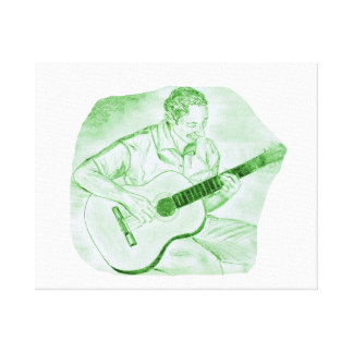 acoustic guitar player sitting pencil sketch green gallery wrap canvas