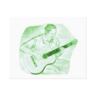 acoustic guitar player sitting pencil sketch green canvas print