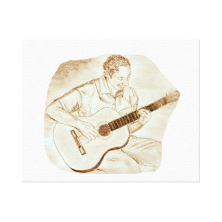 acoustic guitar player sitting pencil sketch sepia stretched canvas prints