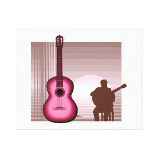 acoustic guitar player sitting pink.png canvas print